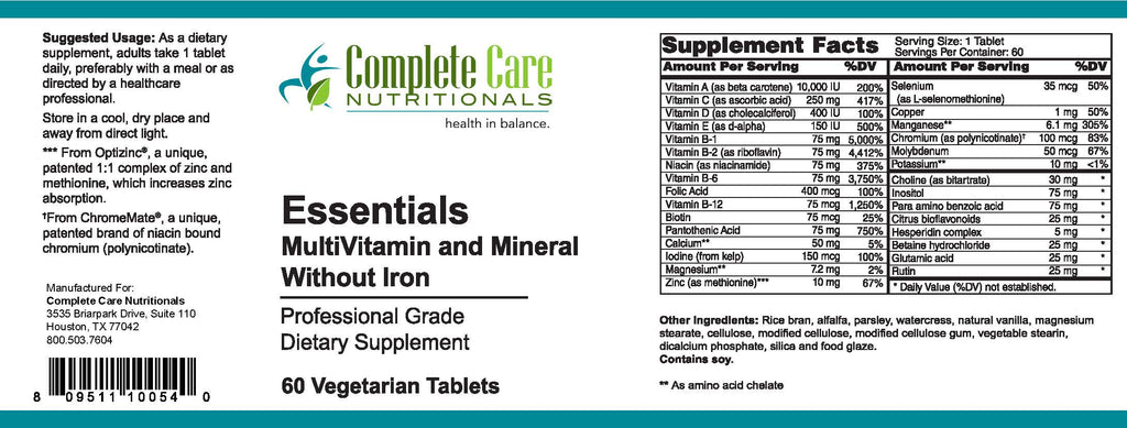 Essentials Multivitamin and Mineral without Iron