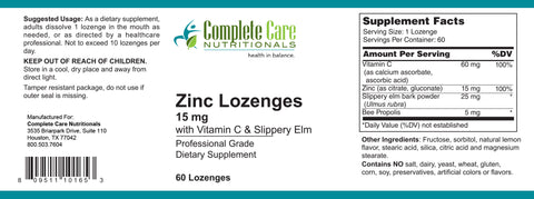 Zinc Lozenges (Backorder till July)