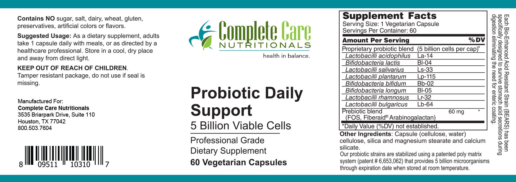Probiotic Daily Support / 60 Caps