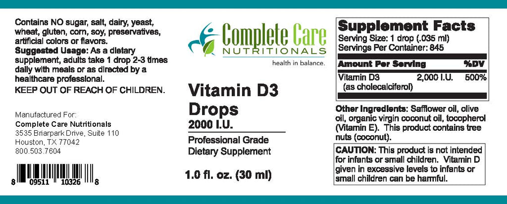 Vitamin D-3 drops / 2,000 IU