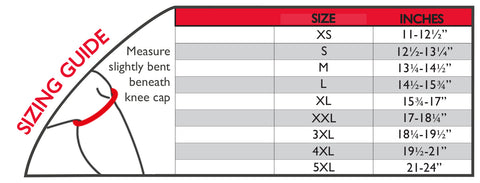 Image of thermoskin open knee wrap stabilizer sizing chart