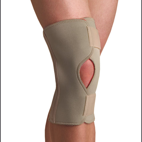 Image of Thermoskin open knee wrap stabilizer right or left leg beige color