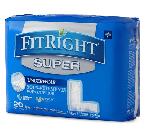 "FitRight Super Protective Underwear LARGE 40-56"" (20 Count)"