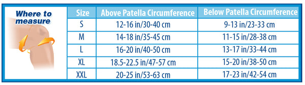 Sizing chart for KS7 Compression Knee Sleeve by Orthosleeve. Measure out above patella circumference and below patella circumference