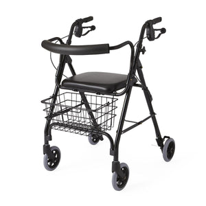 ROLLATOR,DELUXE,BLACK,250 LBS,CURVED BA