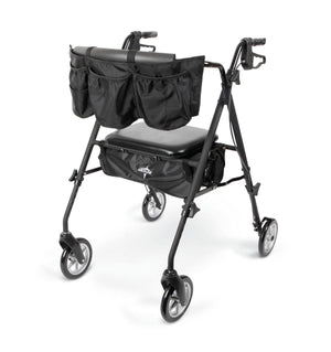 "Stealth Rollator matte black frame with 7"" chrome hubs"