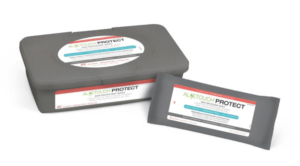 Aloetouch PROTECT dimethicone wipes tub and pack