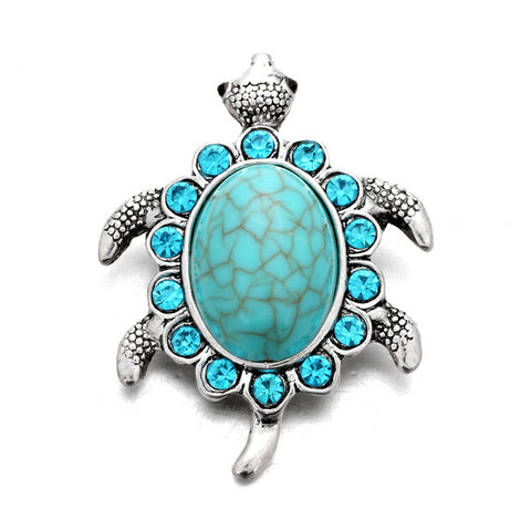 turquoise sea turtle snap button