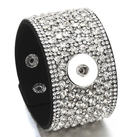 Leather Bling Snap Bracelet