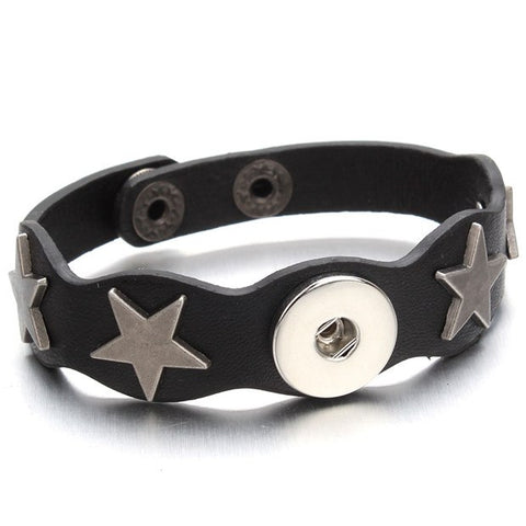 Leather Star Snap Bracelet