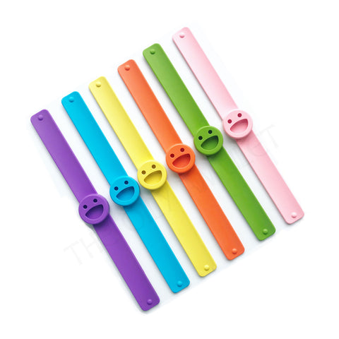 kids essential oil slap diffuser bracelet silicone smiley bracelet purple blue yellow orange green pink the oily amulet