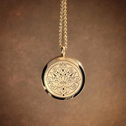 LOTUS Essential Oil Aromatherapy Stainless Steel Diffuser Necklace The Oily Amulet Gold