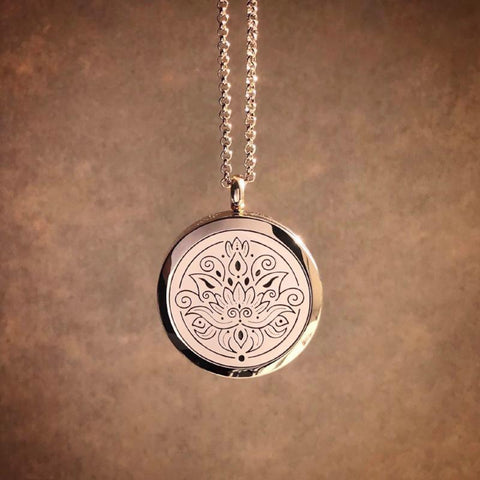 LOTUS Essential Oil Aromatherapy Stainless Steel Diffuser Necklace The Oily Amulet Rose Gold