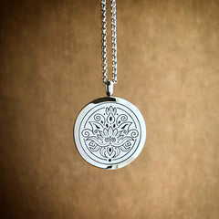LOTUS Essential Oil Aromatherapy Stainless Steel Diffuser Necklace The Oily Amulet Silver