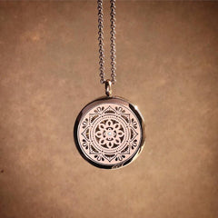 Mandala Essential Oil Aromatherapy Stainless Steel Diffuser Necklace The Oily Amulet Chocolate Copper