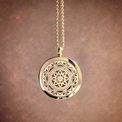 Mandala Essential Oil Aromatherapy Stainless Steel Diffuser Necklace The Oily Amulet Gold