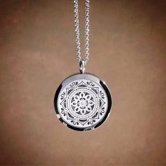 Mandala Essential Oil Aromatherapy Stainless Steel Diffuser Necklace The Oily Amulet