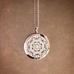 Mandala Essential Oil Aromatherapy Stainless Steel Diffuser Necklace The Oily Amulet Rose Gold