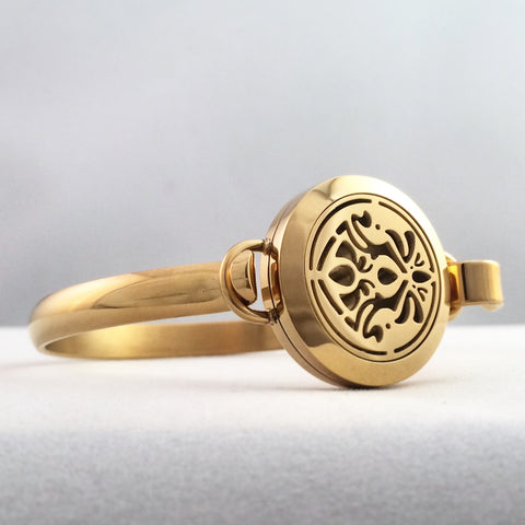 Art Nouveau Infinity No.5 - Gold Plated Stainless Steel Essential Oil Bracelet