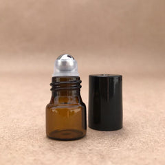 1/4 dram 1ml Amber Essential Oil Roller Bottle Aromatherapy Stainless Steel Roller Ball