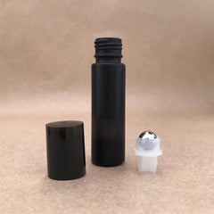 3 PACK - 10ml - Volcanic Black Glass Roller Bottle with Stainless Steel Roller Ball