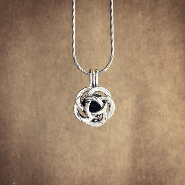 Rose Lava Diffuser Necklace - Rhodium Tone Cage Locket Necklace