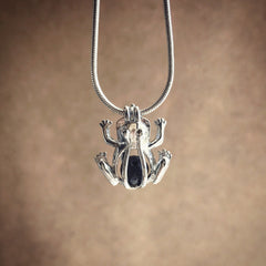 Frog Lava Diffuser Necklace - Rhodium Tone Cage Locket Necklace