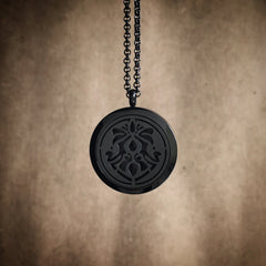 Art Nouveau Infinity No.5 - Black Plated Stainless Steel Diffuser Necklace