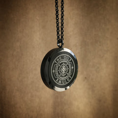 The Oily Amulet Design No.1 - Black Stainless Steel Diffuser Necklace