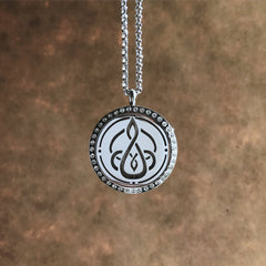 Celtic Mother & Child Knot No.3 - Rhinestone Stainless Steel Diffuser Necklace