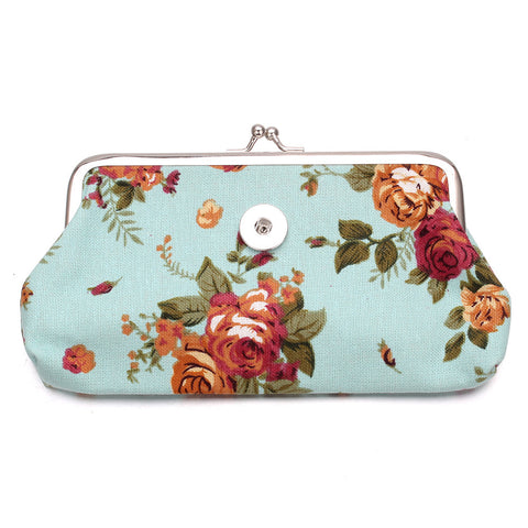 Blue Floral Snap Clutch