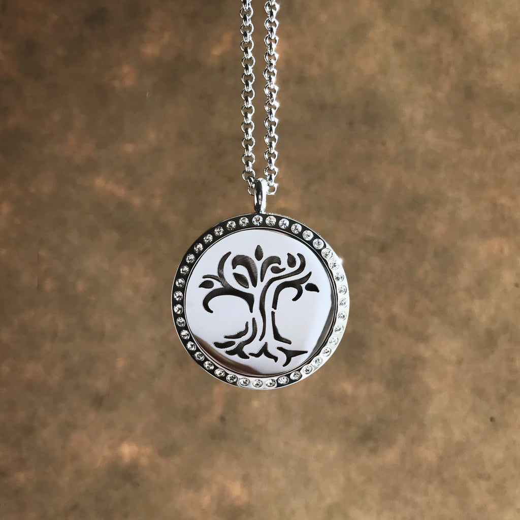 d19517b4095d Tree of Life No.2 - Rhinestone Stainless Steel Diffuser Necklace ...
