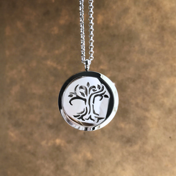 Tree of Life No.2 - Stainless Steel Diffuser Necklace