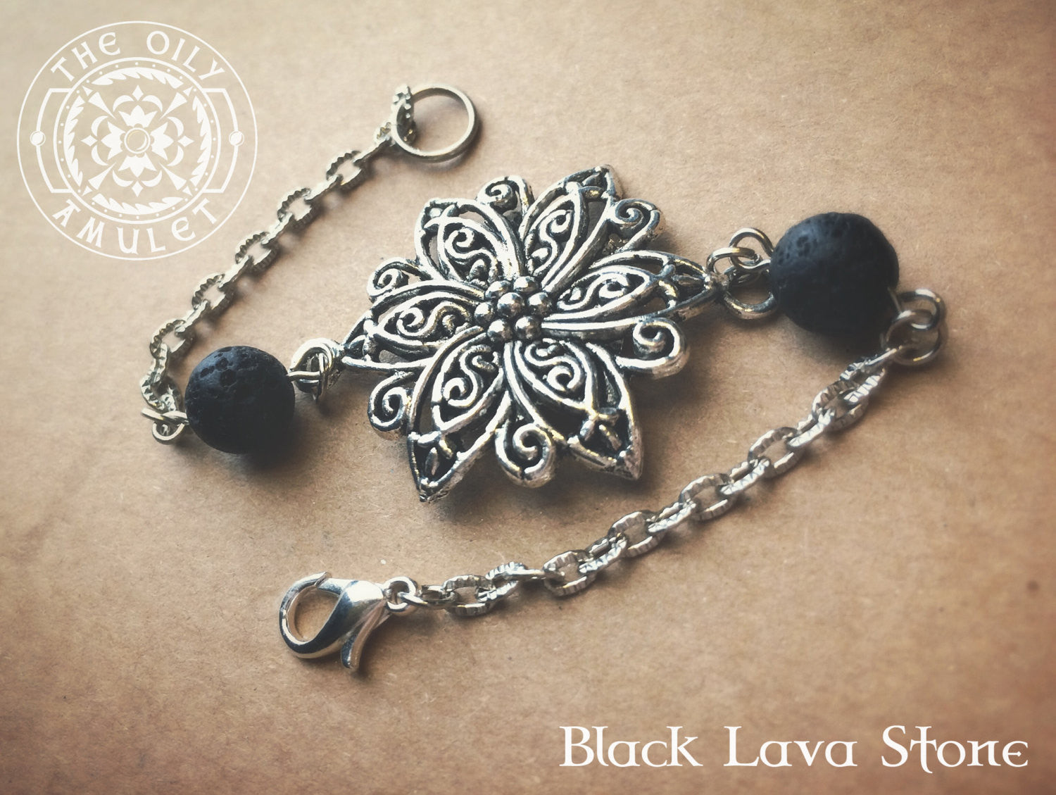 Flower Essential Oil Diffuser Absorb Bead Women's Bracelet - Antique Silver Tone - Lava Stone Beads 8mm