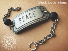 PEACE Essential Oil Diffuser Absorb Bead Unisex Bracelet - 7 inch - Antique Silver Tone - Lava Stone Beads 8mm