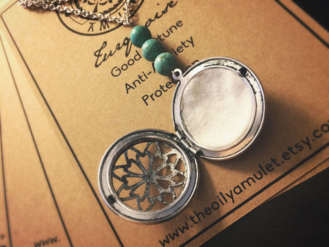 Essential Oil Locket Diffuser Necklace - Turquoise - Antique Silver Tone