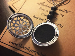 Essential Oil Locket Diffuser Necklace - Labradorite - Antique Silver
