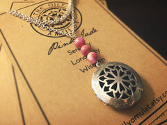 Essential Oil Locket Diffuser Necklace - Pink Jade