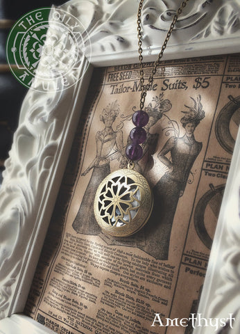 The Oily Amulet Original - Amethyst - Essential Oil Locket Diffuser Necklace - 24 INCH - Antique Brass Tone