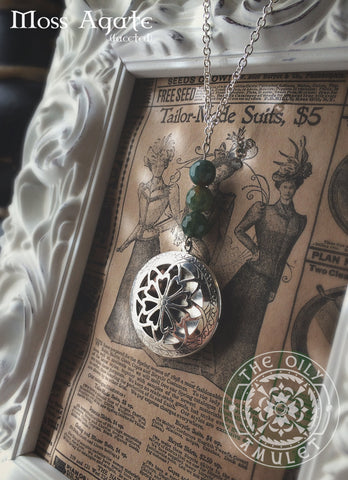 Essential Oil Locket Diffuser Necklace - Moss Agate - Antique Silver Tone