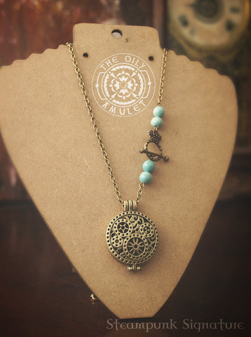 STEAMPUNK Style Essential Oil Diffuser Locket Necklace - 28 inch - Antique Bronze Tone - Amethyst Turquoise Agate Labradorite Onyx