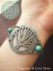 TREE of LIFE - Turquoise - Essential Oil Diffuser Lava Absorb Bead Women's Bracelet - Tin / Silver Tone - Turquoise & Lava Stone Beads 8mm