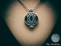 The Watcher - Oily Amulet Signature - Essential Oil Diffuser Locket Necklace - 20 inch - Silver Tone - Black Onyx and Grey/Black Marble