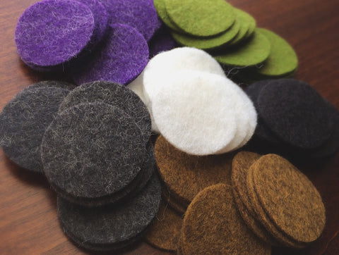 Felt Diffuser Replacement Pads - 1 inch - 35% Merino Wool and 65 Rayon natural blend - essential oil necklace - Oily Amulet - FOUR pieces
