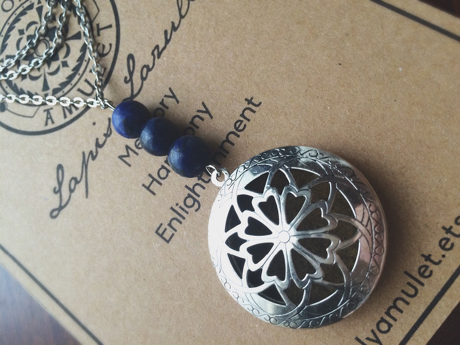 The Oily Amulet Original - Lapis Lazuli - Essential Oil Locket Diffuser Necklace - 24 INCH - Antique Silver OR Brass Tone Aromatherapy