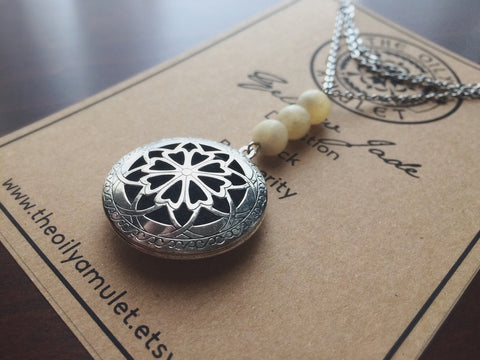 The Oily Amulet Original - Yellow Jade - Essential Oil Locket Diffuser Necklace - 24 INCH - Antique Silver OR Brass Tone Aromatherapy