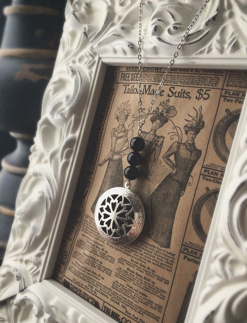 The Oily Amulet Original - Black Onyx - Essential Oil Locket Diffuser Necklace - 24 INCH - Antique Silver OR Brass Tone Aromatherapy