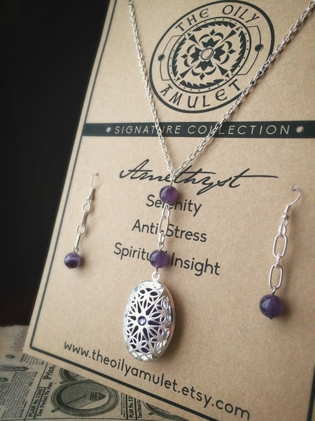 Oily Amulet Signature - Amethyst Gift Set - Essential Oil Diffuser Locket Necklace Earrings - 24 in - Silver Tone - Jewelry Purple Filigre