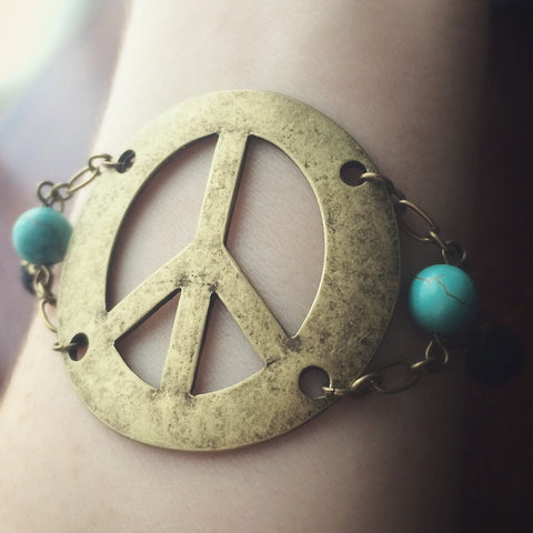 Peace Turquoise - Essential Oil Diffuser Lava Absorb Bead Women's Bracelet - Antique Brass Tone - Turquoise & Lava Stone Beads Love Hippie