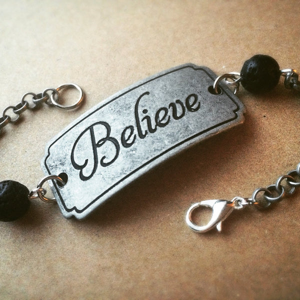 Believe - Essential Oil Diffuser Absorb Bead Unisex Bracelet - 7inch -  Antique Silver Tone - Lava Stone Beads 8mm Faith